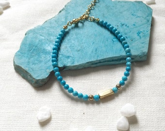 Petite Stack Bracelet - Beaded Turquoise Howlite with Brass. Wrist Candy