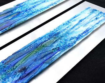 """Waterfall Pair - Fused Glass Wall Art with Textured Relief Surface - Mounted on Steel - 41.5""""x13"""" each"""