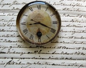 """Vintage Clock Paperweight Clock Face Shabby White Cottage Home Decor Gift Idea Shabby Clock Glass Paperweight 2 3/8"""" diameter, 1/2"""" thick"""