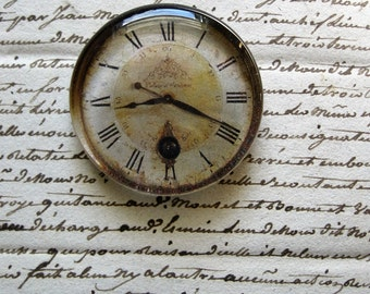 "Vintage Clock Paperweight Clock Face Shabby White Cottage Home Decor Gift Idea Shabby Clock Glass Paperweight 2 3/8"" diameter, 1/2"" thick"
