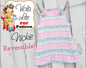 Girl's Dress Pattern pdf. Reversible Dress Pattern, Girl's Jumper, Toddler A-line Dress Pattern, Instant Download pdf Sewing Pattern. Nickie