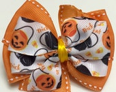 Orange & Black HALLOWEEN Pumpkins Trick or Treat Ghosts Fall Stacked Boutique Style Ribbon Bow Handmade for PETS Dog Collar Accessory