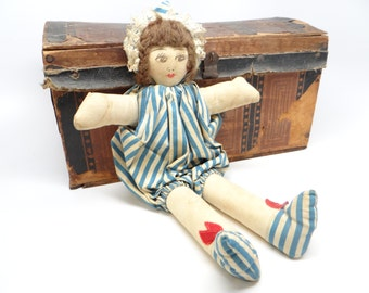 Antique Small Printed Cloth Doll, stuffed with Cotton, Vintage Toy