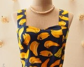 SALE - Dress in Navy Women Easter Banana Dress Vintage Party Dress Summer Sundress Tea Dress Fruit Dress Pin Up fashion