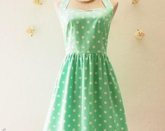 Polka Dot Bridesmaid Dress Sundress Green Summer Dress Vintage Dress Tea Party Dress Retro Prom Dress