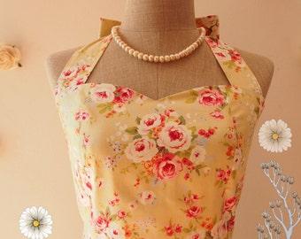 SALE Floral Dress Yellow Green Floral Tea Dress Cotton Dress Halter Dress Vintage Floral Party Dress Wedding Dress -Size S