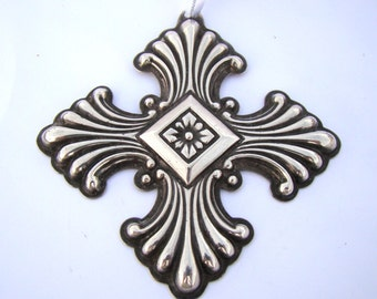 Reed & Barton Vintage Sterling Cross Christmas Ornament