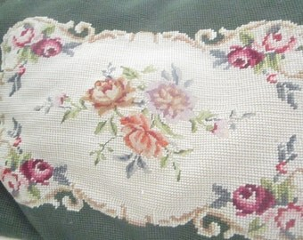 Vintage  needlepoint roses pillow  shabby chic shabby chic prairie