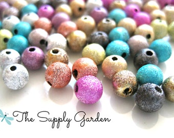 100 Multicolor Stardust Beads 6mm