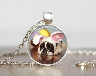 Easter French Bulldog Dog Pendant Necklace