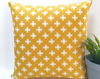 Yellow swiss cross cushion cover yellow pillow cross cushions cross pillows swiss cross pillow cover throw pillow geometric plus