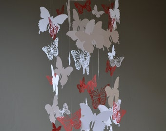 Butterfly nursery mobile / baby mobile made with white and red butterflies -- Butterfly babyshower, nursery art, nursery decor