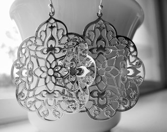 Silver Filigree Earrings Silver Filigree Statement Earrings Moroccan Earrings Boho Earrings Gypsy Lacy Lightweight Summer Gift Idea For Her