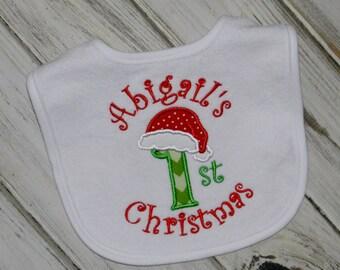 Santa Hat First Christmas Bib