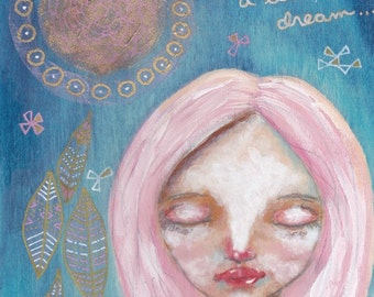 Dream a Little Dream original mixed media painting