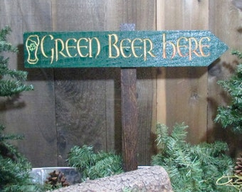 Green Beer Here Directional Sign - St Patrick's Patty's Day Guinness Irish Ireland - Green Painted Cedar Arrow Sign Personalize Customizable
