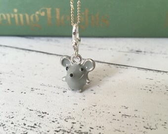 Mouse necklace Enamel charm necklace - Cute jewellery