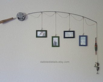 Fishing Pole Picture Frame - Silver or Brown Pole - 4 - 2 1/4 in x 3 1/2 in Picture Frames - Forest, Green, Deep Blue, Liberty