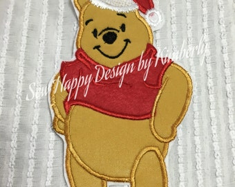 Christmas Pooh Inspired Iron on Appliqué Patch