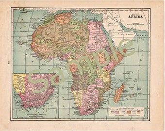 Antique Map of Africa Instant Digital Download 1900 Color Illustration Printable Africa Map, Home Library Decor