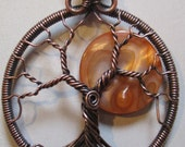 Antiqued Copper Harvest Moon Tree of Life Pendant and Chain, Full Moon Tree of Life, Wire Wrapped Moon Tree