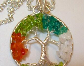 Four Seasons Wire Wrapped Tree of Life, Tree of Life, Peridot, Carnelian, Green Onyx & Rainbow Moonstone
