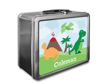 Dinosaur Lunch Box - Personalized Kids Lunch Box - Vintage Metal Lunch Box - Chalkboard Lunchboxes