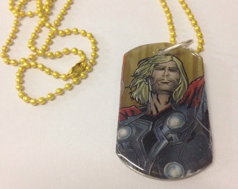 Upcycled Thor Comic Book Dog Tag Necklace