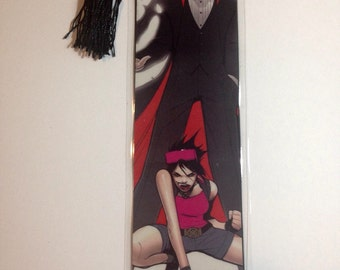 Upcycled X-men '92 Dracula and Jubilee Comic Book Bookmark