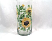 Sunflower hand painted vase