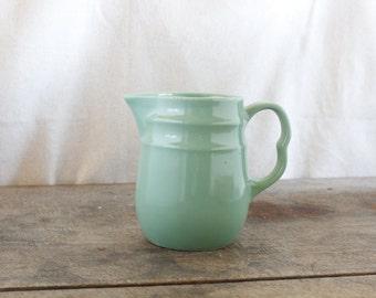 Vintage Pottery Pitcher Jadeite Green Buttermilk Pitcher