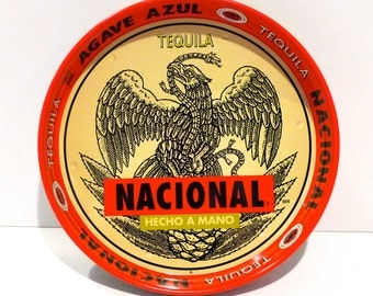 Nacional Tequila Serving Tray Vintage 1960s Agave Azul Blue Agave Made by Hand Hecho a Mano Mexico Barware Coat of Arms Eagle Rattlesnake