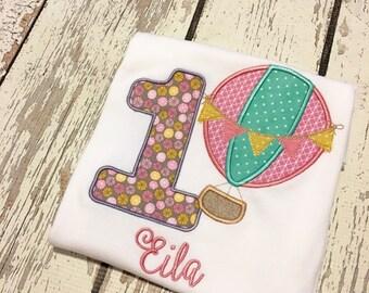 hot air balloon birthday shirt, up up and away birthday shirt, hot air balloon party, hot air balloon shirt, girls hot air balloon party