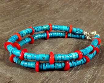 Turquoise Bracelet, Turquoise Jewelry, Turquoise and Coral Bracelet, Southwestern Jewelry, Multi Strand, Southwest Jewelry, Ethnic Jewelry