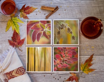 Fall Photo Coasters - Ceramic tile coasters, set of four, frosted leaves, red leaves, November yellows, autumn decor, fpoe team, efpteam