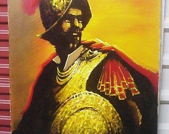 Mid Century Conquistador Oil on Canvas Painting, 60s Original