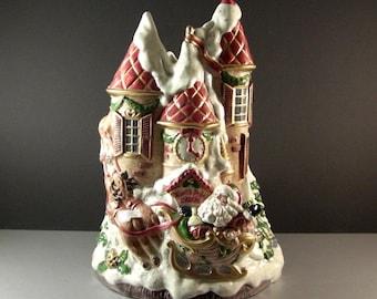 Fitz Floyd Kris Kringle North Pole Castle Vase / ENORMOUS Christmas Santa Centerpiece Decor 1993 19/938