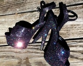 LUCKY SIZE 8 ONLY black glitter goth sexy pinup girl 6 inch Pleaser costume exotic pole dance stripper burlesque platform sex kitten heels
