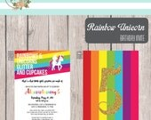 Printable Rainbow Unicorn Birthday Invite