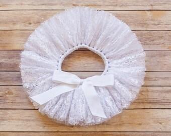 White tutu lace tutu Christening tutu baptism tutu flower girl tutu newborn tutu baby tutu lace skirt 3 6 9 12 18 24 month prop lace tulle