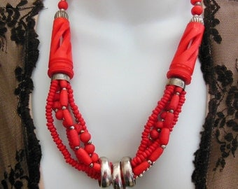 Vintage India Cherry Red Carved Bead Mult-Strand Silver Plated Ring Necklace MM8