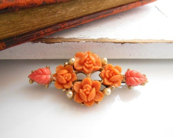 Vintage Celluloid Faux Coral Rose Flower White Pearl Victorian Style Brooch Pin