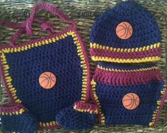 Basketball Baby Gift Set Navy Wine and Gold Bib Diaper Cover Booties and Beanie
