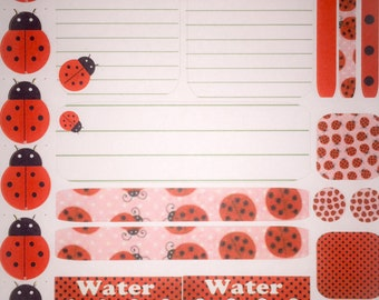 LADYBIRDS LADYBUGS red and black sampler sticker set- planner diary scrapbook school books- week theme-OVER 30 stickers -