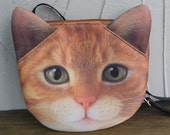 Orange cat cross body, cat purse, cat bag, kitty purse, novelty, pouch, purse, cat lover, cat portrait, SB-236