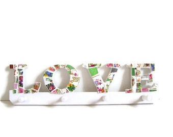 "Mosaic ""Love"" Hanging Wall Coat Hooks - Broken China Mosaic"