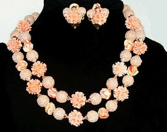 Pink Shell Necklace Earring Set 2 Strands Sugar Beads Made Japan Vintage 1950s