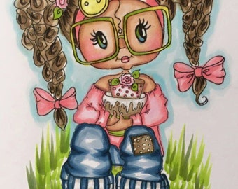 INSTANT DOWNLOAD Digital Digi Stamps Big Eye Big Head Dolls Digi Becky Birthday Bestie Sweet Geek by Sherri Baldy  By Sherri Baldy