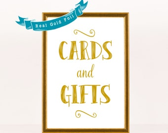 Cards and Gifts Sign Gold Foil Wedding Sign Wedding Reception Sign, Cards Sign, Real Gold Foil, Silver or Rose Gold Poster Decor 8x10 or 5x7