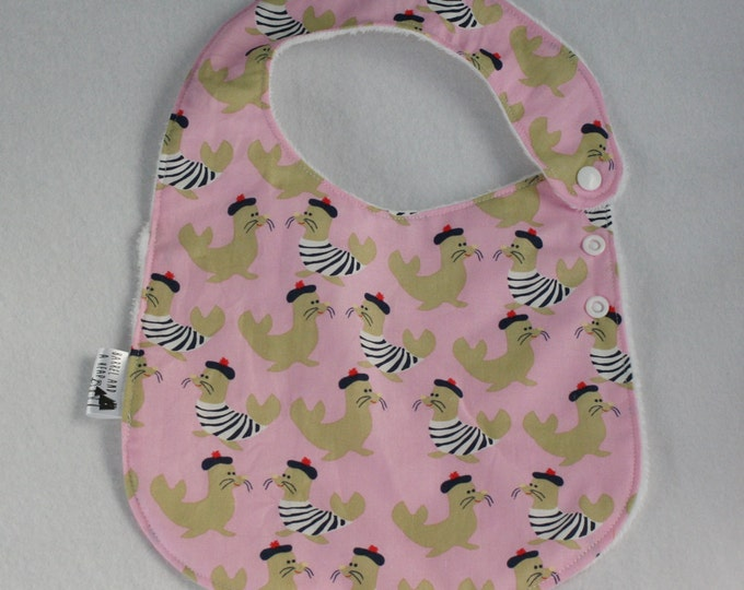 Pink French Seals Adjustable Side Snap Bib with Minky Back